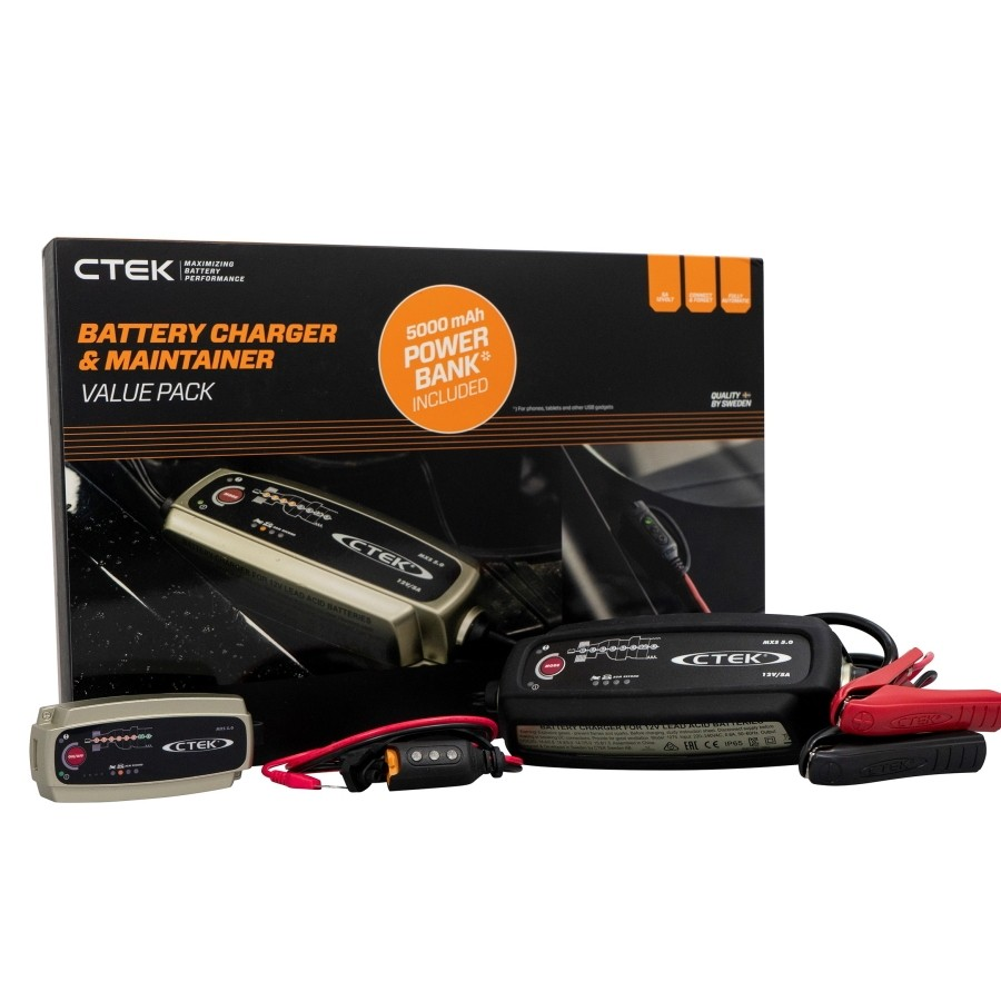 CTEK Spring Promo Pack. Includes Ctek MXS 5.0 Battery Charger, Clamps, Eyelet and Power Bank