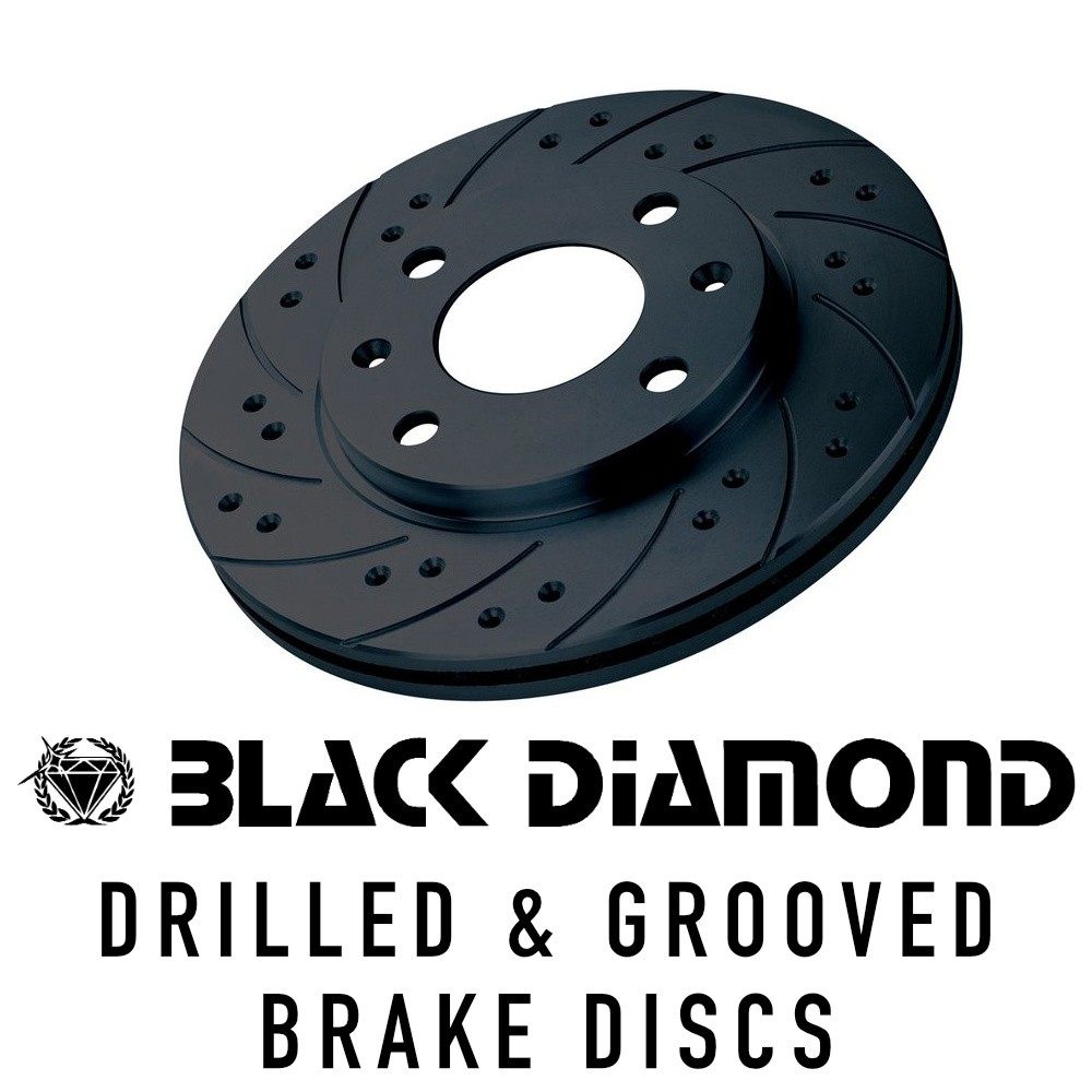 Black Diamond Drilled/Grooved Brake Discs KBD387COM