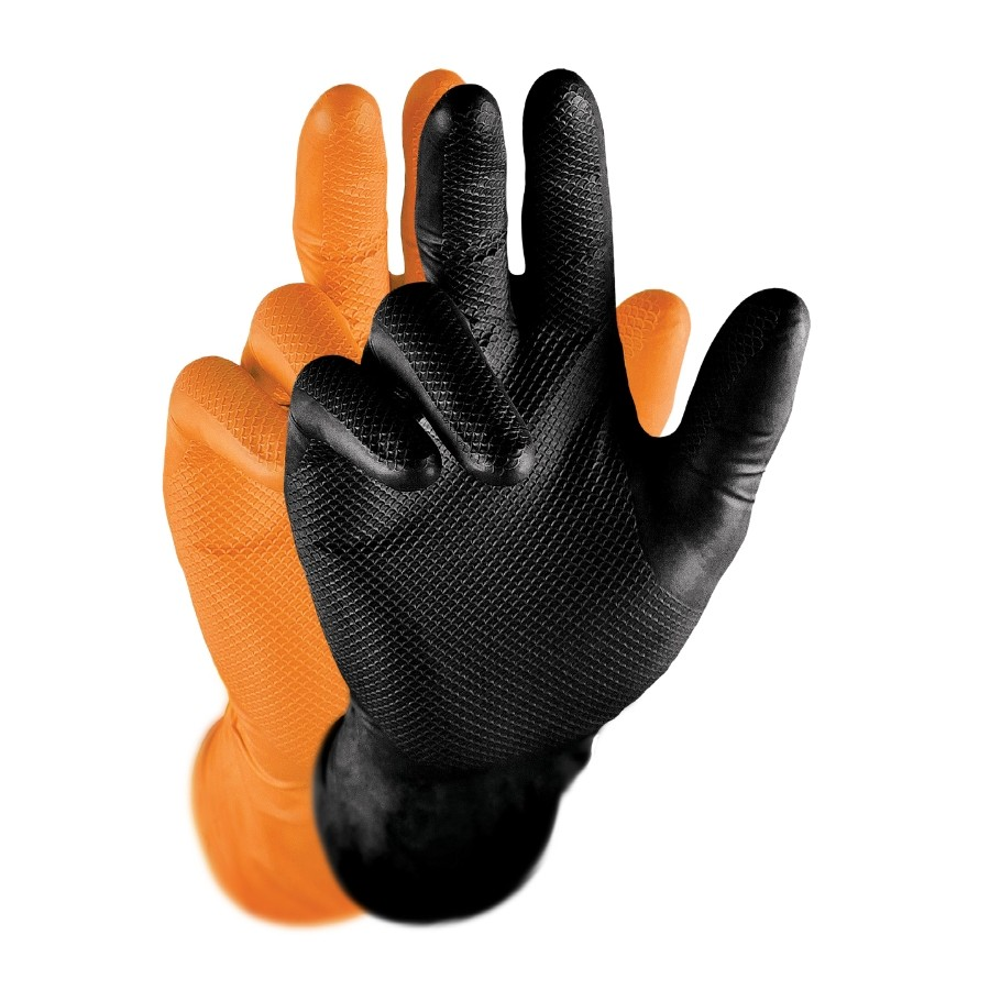 Grippaz Gripster Skins Gloves Orange/Black Fishscale Nitrile