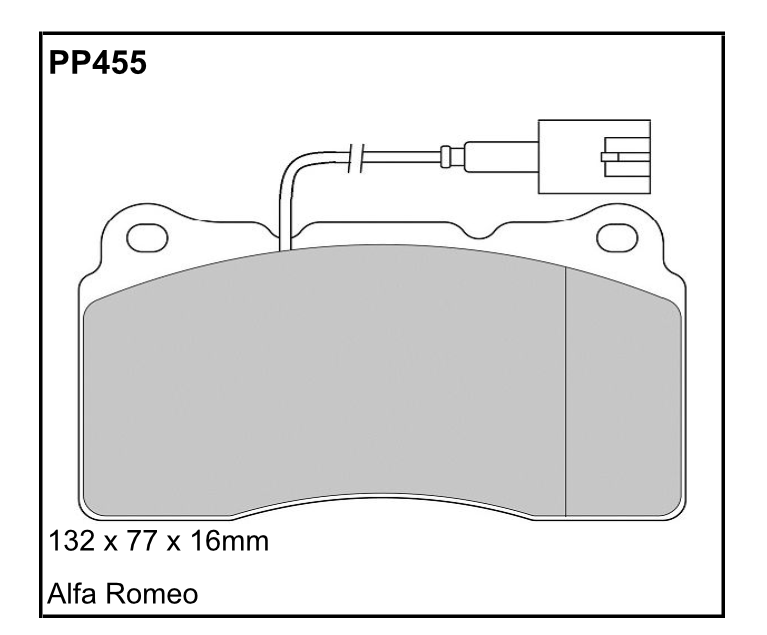 PP455 Black Diamond Predator Brake Pads Alfa Romeo 159, 166 Front Pair