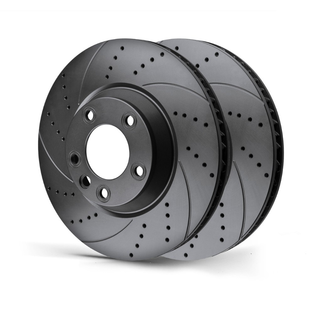 Rotinger Drilled/Grooved Front Brake Discs -Saab 900 Vauxhall Calibra Opel Vectra