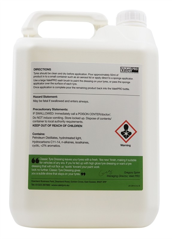 ValetPRO Classic Tyre Dressing 5 Litres