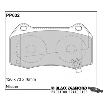 Black Diamond Predator Brake Pads Nissan 350 Z Roadster Front Set