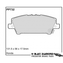 Black Diamond Predator Brake Pads Honda Civic Front Set
