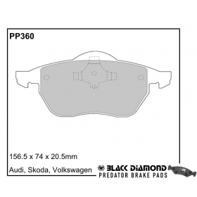 Black Diamond Predator Brake Pads Skoda Octavia Front Set