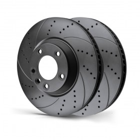 Rotinger Brake Discs Ford Fiesta V Focus Fusion KA Puma Street Front Pair Drilled & Grooved