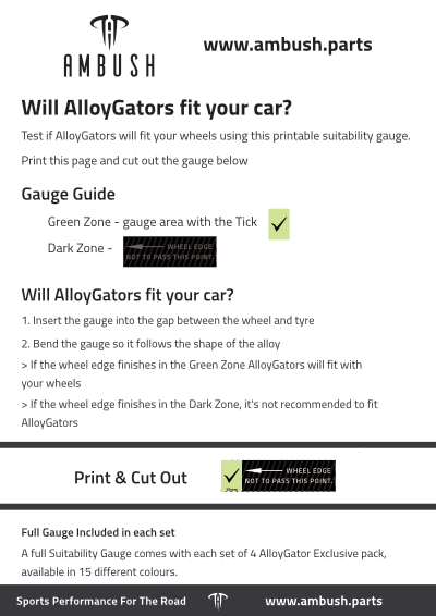 Check if AlloyGator Exclusive will fit your wheels with the Suitability Gauge Print & Cut Out